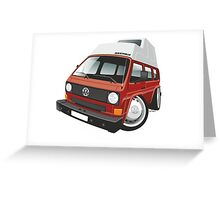 VW T3 camper caricature red Greeting Card