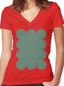 Rotating Snakes Illusion Women's Fitted V-Neck T-Shirt