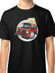 VW T3 pop-top camper caricature red Classic T-Shirt