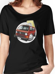 VW T3 pop-top camper caricature red Women's Relaxed Fit T-Shirt