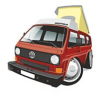 VW T3 pop-top camper caricature red Photographic Print