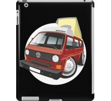 VW T3 pop-top camper caricature red iPad Case/Skin