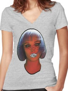 Glass Glitch Women's Fitted V-Neck T-Shirt