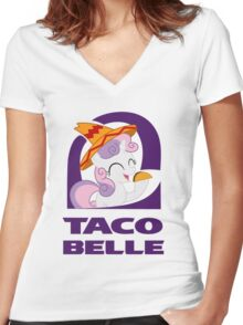 taco belle Women's Fitted V-Neck T-Shirt
