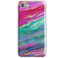 AGATE MAGIC, MIAMI SUMMER Pink Aqua Blue Marble Pattern Watercolor Abstract Painting iPhone Case/Skin