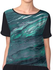 AGATE MAGIC, DARK TEAL Blue Green Marble Pattern Watercolor Abstract Painting Chiffon Top