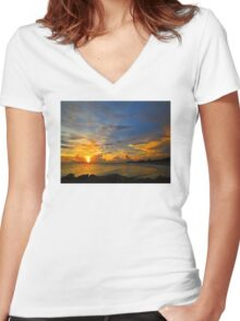 Sunset In Paradise - Beach Photography by Sharon Cummings Women's Fitted V-Neck T-Shirt
