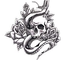 Skull, Snake and Roses by PointBlankInd