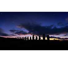 Twilight, Ahu Tongariki, Rapa Nui, Chile. Photographic Print