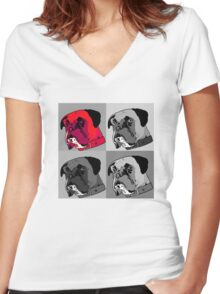 Boxer - Red Women's Fitted V-Neck T-Shirt