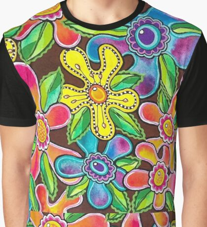 Funky Flowers Graphic T-Shirt