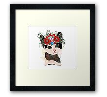 Cute card with lovely cat. Cat in a wreath of flowers Framed Print