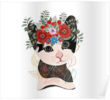 Cute card with lovely cat. Cat in a wreath of flowers Poster