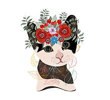 Cute card with lovely cat. Cat in a wreath of flowers Photographic Print