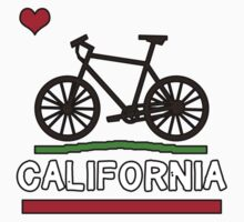 California Flag (Brown Bicycle) (Large & Centered) Kids Tee