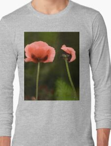 Couple Pink Oriental Poppies  Long Sleeve T-Shirt