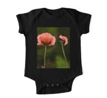 Couple Pink Oriental Poppies  One Piece - Short Sleeve