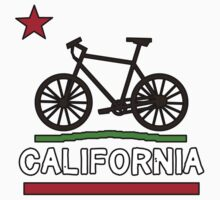 California Flag (Brown Bicycle) (Large & Centered) One Piece - Long Sleeve
