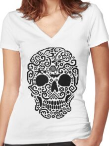 Skull and Cross Stitch Women's Fitted V-Neck T-Shirt