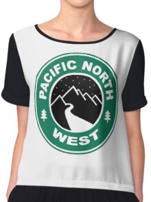Pacific North West Starbucks Coffee PNW Hiking Chiffon Top
