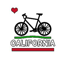 California Flag (Black Bicycle) (Large & Centered) Photographic Print