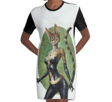 The Royal Cats' Girlfriend Feline Graphic T-Shirt Dress