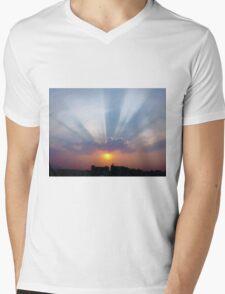 Majestic Blue Rays Mens V-Neck T-Shirt