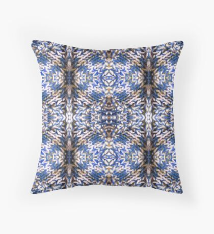 Blue Knitted Circles Throw Pillow