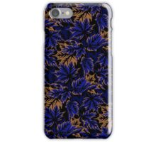 Leaves - Dark blue/beige iPhone Case/Skin