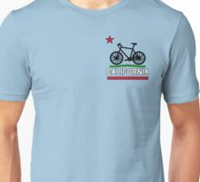 California Flag (Black Bicycle) (Small & Aligned to the Right) Unisex T-Shirt