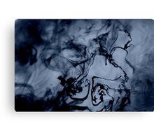 Blue-Black Ink Swirl Canvas Print