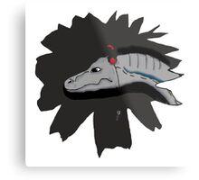 Jurassic Velociraptor wearing headphones Metal Print