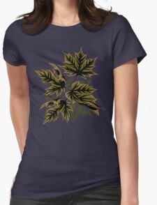 Leaves - Dull Green Womens Fitted T-Shirt