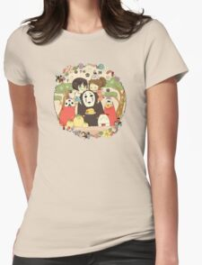 collage ghibli familly Womens Fitted T-Shirt