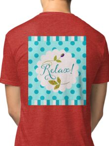 Relaxing Zen nature and pattern message, olive, berries Tri-blend T-Shirt