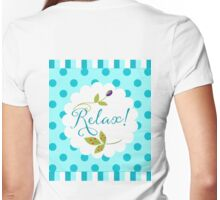 Relaxing Zen nature and pattern message, olive, berries Womens Fitted T-Shirt