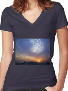 Balloon of clouds at Sunset Women's Fitted V-Neck T-Shirt