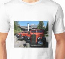 Historic Red Jammers of Glacier National Park Unisex T-Shirt