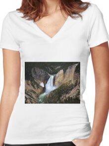 The Grandeur of Lower Yellowstone Falls  Women's Fitted V-Neck T-Shirt