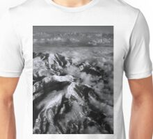 Snow Capped Mountains in Black/White Unisex T-Shirt