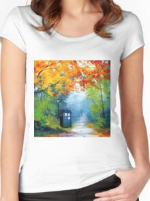 Tardis Oil Painting Women's Fitted Scoop T-Shirt