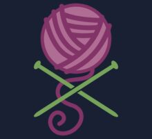 DANGEROUS knitter! Knitting wool ball and Needles crossbones in purple One Piece - Short Sleeve