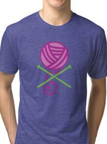 DANGEROUS knitter! Knitting wool ball and Needles crossbones in purple Tri-blend T-Shirt
