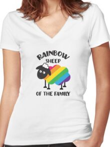 Rainbow Sheep Of The Family LGBT Pride Women's Fitted V-Neck T-Shirt