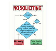 No Soliciting (flowchart) Art Print