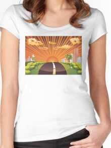 Green Field and City 2 Women's Fitted Scoop T-Shirt