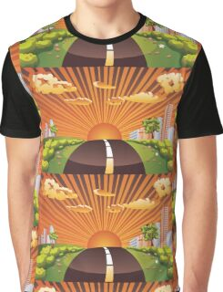 Green Field and City 2 Graphic T-Shirt