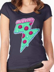 Thunder Neon Pizza Women's Fitted Scoop T-Shirt