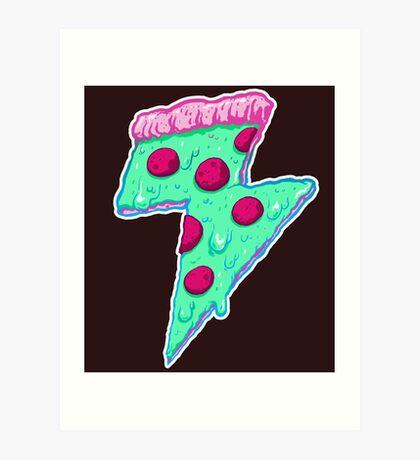 Thunder Neon Pizza Art Print