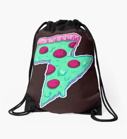 Thunder Neon Pizza Drawstring Bag